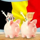 Composite image of health insurance concept. Health insurance concept against belgium flag Stock Photos