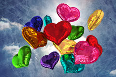 Composite image of heart balloons Royalty Free Stock Photos
