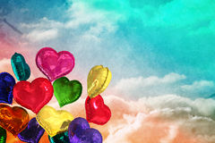 Composite image of heart balloons Stock Photo
