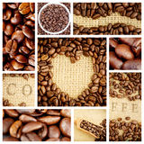 Composite image of heart indent in coffee beans. Heart indent in coffee beans against close up of coffee seeds royalty free illustration