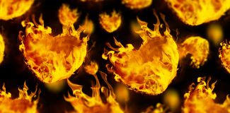 Composite image of heart shapes on fire Royalty Free Stock Photography