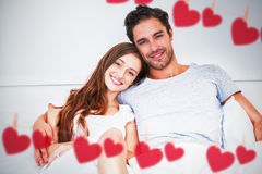 Composite image of hearts hanging on a line Royalty Free Stock Images