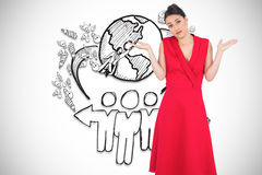 Composite image of hesitant elegant brunette in red dress posing. Hesitant elegant brunette in red dress posing against global community illustration Stock Images