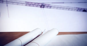 Composite image of high angle view architect plan on table Royalty Free Stock Photos