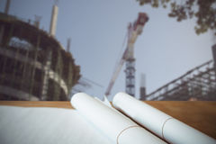 Composite image of high angle view architect plan on table Stock Photography