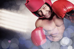 Composite image of high angle view of boxer with headgear and gloves Stock Photos