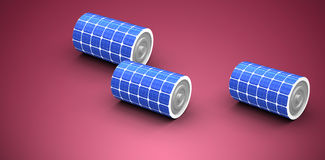 Composite image of high angle view of 3d solar power battery. High angle view of 3d solar power battery against red and white background Royalty Free Stock Image
