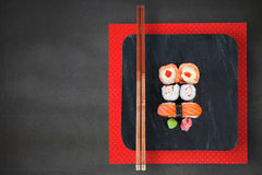 Composite image of high angle view of fresh sushi in plate Stock Photos