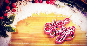 Composite image of high angle view of three dimensional of merry christmas text Royalty Free Stock Photography