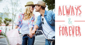 Composite image of hip young couple on a bike ride royalty free illustration