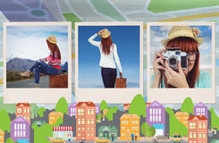 Composite image of hipster woman sitting on her suitcase Stock Photo
