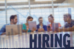 Composite image of hiring. Hiring against blue data Stock Images