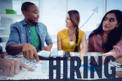 Composite image of hiring. Hiring against blue data Stock Photography