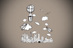 Composite image of hot air balloon over city Stock Image