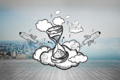 Composite image of hourglass doodle Royalty Free Stock Photo