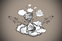 Composite image of hourglass doodle Royalty Free Stock Image
