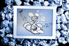 Composite image of hourglass doodle Royalty Free Stock Images