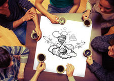 Composite image of hourglass doodle on page Royalty Free Stock Photo