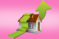 Composite image of house with green arrow Royalty Free Stock Image