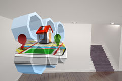 Composite image of house on a map on abstract screen Royalty Free Stock Photography