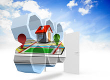 Composite image of house on a map on abstract screen Royalty Free Stock Photos