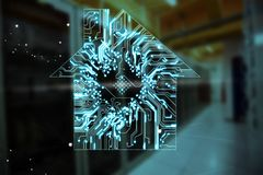 Composite image of house shape over circuit board. House shape over circuit board against empty server room vector illustration