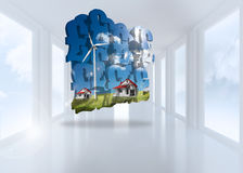 Composite image of houses with wind turbines on abstract screen Stock Photo