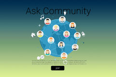 Composite image of human representations with ask community text Royalty Free Stock Photography
