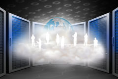 Composite image of human silhouettes on floating cloud Royalty Free Stock Photo