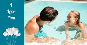 Composite image of I love you text with couple enjoying in pool. Composite image of I love you text with happy couple enjoying in pool Stock Image