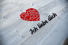 Composite image of ich liebe dich Stock Photo