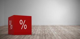Composite image of  icon of percentage symbol. Vector icon of percentage symbol against digital room Stock Photos
