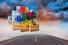 Composite image of idea on abstract screen Royalty Free Stock Photo