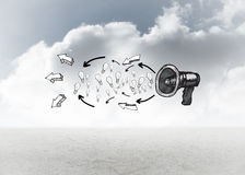 Composite image of idea doodle with megaphone Royalty Free Stock Image