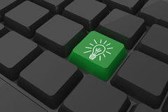 Composite image of idea and innovation graphic on key Royalty Free Stock Photo