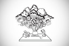 Composite image of ideas flowing from laptop doodle Royalty Free Stock Photo