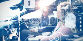 Composite image of identification interface. Identification interface against couple talking while sitting in car Stock Photo