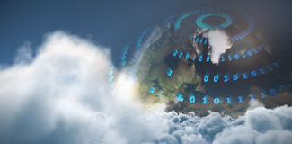 Composite image of idyllic view of sun over cloudscape during sunny day Stock Images