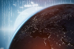 Composite image of illuminated earth seen from space Royalty Free Stock Photography