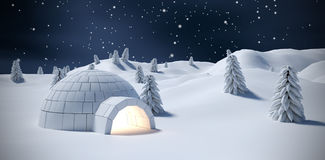 Composite image of illuminated igloo and trees on snow field. Illuminated igloo and trees on snow field against blue sky with clouds Stock Images