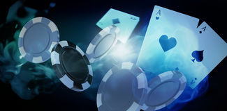 Composite image of illustration of 3d gambling chips. Illustration of 3D gambling chips against blue background with vignette Royalty Free Stock Photos