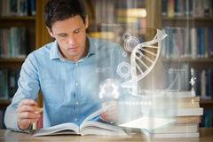 Composite image of illustration of dna. Illustration of DNA against serious mature student studying at library desk stock image