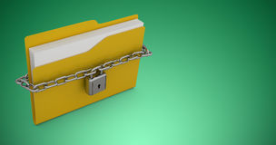 Composite image of illustration of locked yellow folder. Illustration of locked yellow folder  against green vignette Royalty Free Stock Photo
