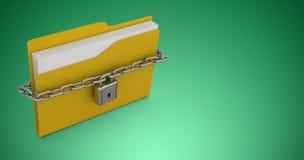 Composite image of illustration of locked yellow folder Royalty Free Stock Photo