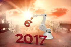 Composite image of illustration of robotic hand holding number 3d Royalty Free Stock Photos