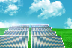 Composite image of illustration of solar panel against landscape Royalty Free Stock Photos