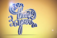 Composite image of illustration of thank you text over white screen