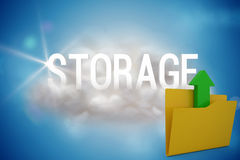 Composite image of illustration of yellow folder with uploading arrow symbol. Illustration of yellow folder with uploading arrow symbol against storage on a Royalty Free Stock Images