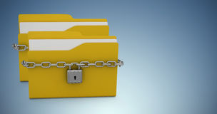 Composite image of illustration of yellow locked folder with padlock Royalty Free Stock Photography