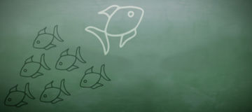 Composite image of illustrative image of fishes. Illustrative image of fishes against green chalkboard vector illustration